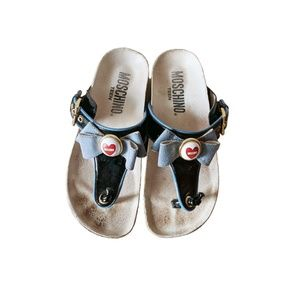 Moschino Kids Black Patent Leather Bow Sandals